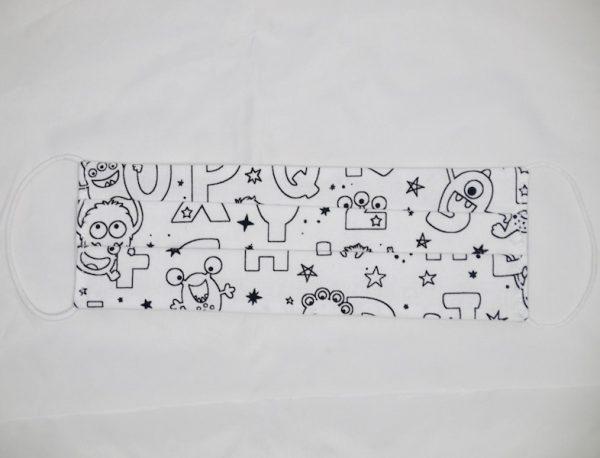 Mascarilla letras y monstruos para colorear